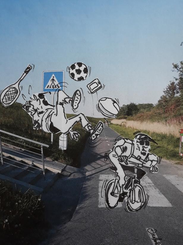 Jogger und Radfahrer