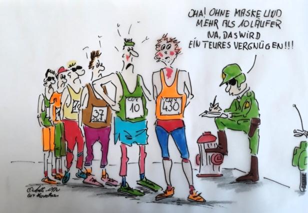 NEUER CUXHAVEN-CARTOON: Jetzt hat er doch stattgefunden - der Cuxhaven-Marathon, mit 800 Läufern - bei gleichzeitig sehr hohen Infektionszahlen in ganz Deutschland. Ich finde es nicht gut! Bei der bestehenden Maskenpflicht (!) gab es kleine Probleme an den Wendepunkten (hihihi!!!). Etwas Spaß muß sein. Trotz solcher unnötigen Massenaufläufe bleibt weiterhin gesund und habt  Spaß beim Joggen.